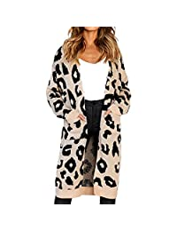 Belgius Women Leopard Print Knitted Open Front Long Cardigan Sweater