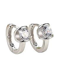 QTALKIE 8MM 925 Sterling Silver Crystal Small Huggie Hinged Hoop Earrings for Women