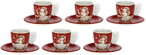 THUN – Set 6 Tazzine da caffè con Decorazioni Natalizie – Accessori Cucina – Linea Dolce Natale – Porcellana – 100 ml