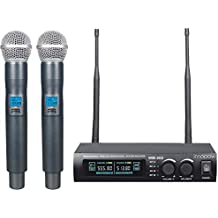 innopow Metal Dual UHF Wireless Microphone System,inp Metal Cordless Mic Set, Long Distance 150-200Ft,16 Hours Continuous Use for Family Party,Church,Small Karaoke Night (WM-200-New)