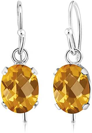 1.40 Ct Oval Checkerboard Yellow Citrine 925 Sterling Silver Gemstone Birthstone Earrings (7X5MM Oval)