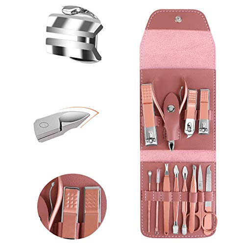 Manicure Set 12pcs Manicure Pedicure Set Professional Nail Clipper Kit Stainless Steel Nail Care Tools with Luxurious Travel Case (Pink)