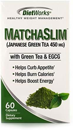DietWorks MatchaSlim Capsules, Japanese Green Tea 500mg, Healthy Weight Loss Formula, 60 servings