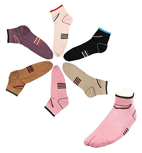 Footmate Women Half Terry Ankle Toe Socks (6 Pair Pack)