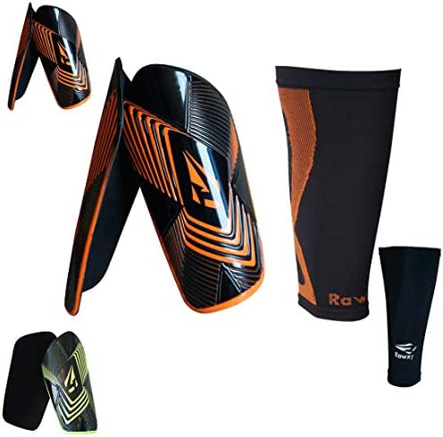 Shin Guards Soccer Football with Extreme Armour Foam Protection, with Compression Sleeve,Adult Junior Men Women Fit Height Range 5'1'' ~ 6'1''