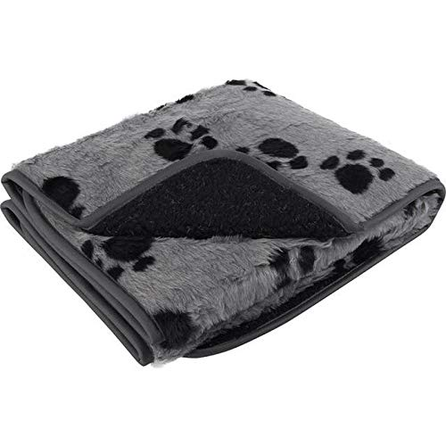 Petface Sherpa Printed Fleece Blanket Grey and Black
