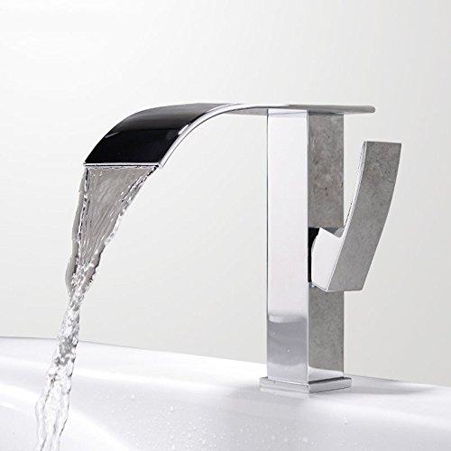 CZOOR Waschbecken Mischer-Hahn-Bassin-Hahn-Wasserfall Einhand-Chrom-Messing heiße und kalte Mischer Badezimmer-Wannen-Hahn-Mischer-Hahn