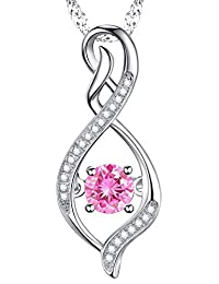 October Birthstone Infinity Endless Love Pink Tourmaline Necklace Sterling Silver Swarovski Jewelry Birthday Gift for Her