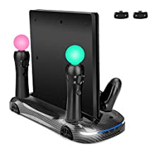 LIDIWEE Vertical Stand for PS4 Pro/Slim with Dual Cooling Fan, Dual Controller Charger Station/PS Move Charging Port, 3 USB HUB Port, Carbon Fiber Appearance