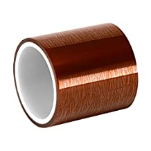 """TapeCase 1.5-5-1205 Amber Polyimide/Kapton Film Tape with Acrylic Adhesive, Converted from 3M, Maximum Temperature: 311 Degrees F, 1.5"""" X 5 Yd Roll"""