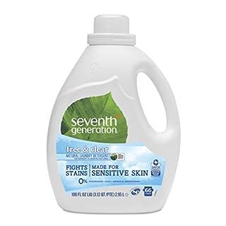 Seventh Generation Liquid Laundry Detergent, Free & Clear, 66 Loads, 100 Fl Oz, Pack of 1