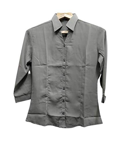 OPEN STYLE Women's Solid Formal Chiffon 3/4th Sleeves Shirt Grey