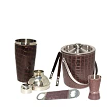 King Internaional 100% Stainless Steel Plain Bar Set | Bar Tools | Bar Accesories Premimum Leather Bar Set,Bar Tools,Bar Accessories, combo of 5 Pieces Ice Bucket 1750 ml 1750 ml, Jigger 4.4 cm 3060 ml, Ice Tong 16.5 cm and Opener 14 cm - Ideal for Party Get together and Gifting