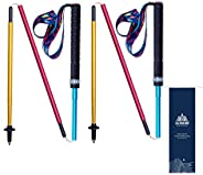 2 Pack Collapsible Trekking Poles Carbon Aluminium Alloy Lightweight Strong Walking Sticks for Hiking or Campi
