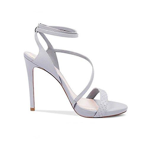 JIANXIN JIANXIN JIANXIN Eine Frau Leine Und Leder Sandalen Sind Sexy Stilettos Und Wasserdichte Plattform Heels. (Farbe   Silber größe   EU 39 US 8 UK 6 JP 25cm) a57698