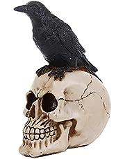 Halloween Wrona Czaszka Prop Ornament Żywica Fałszywa Figurka Zwierzątka Ornament Straszne Figurki Czaszki Czaszka Głowa Na Nawiedzony Dom Strona Rekwizyty Do Dekoracji