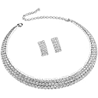 Wedding Jewelry Sets Cz Crystal Rhinestone Tassels Statement Necklace and Earrings Jewelry Sets for Brides (2#)