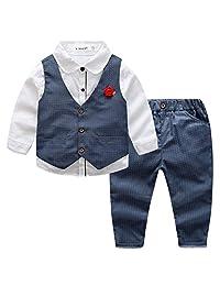 Kid Boys Vintage Formal Clothing Set 3pcs Wedding Gentle Tuxedo Cotton Fully Lined Outfits V-neck Adjustable Suit, 6Y
