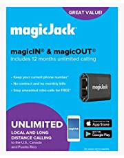 magicJack, VOIP Phone Adapter, Portable Home and On-The-Go Digital Phone Service. Unlimited Local & Long Distance Calls to US and Canada. NO Monthly Bill. Most Recent Model |FEATURING magicIN™ & magicOUT™ service