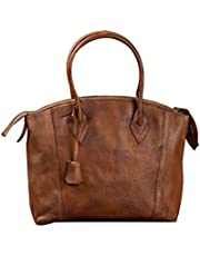 Genda 2Archer Women's Lady Italy Import Leather Satchel Briefcase Laptop Tote Bag 31cm(L)*12cm(H)*21(W) Brown