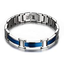 Blue Titanium Magnetic Therapy Bracelet Pain Relief for Arthritis Carpal Tunnel Tendonitis Tennis Elbow