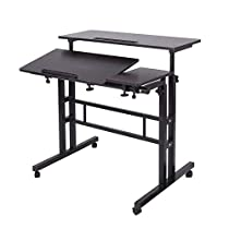 Soges Adjustable Stand Up Desk Computer Mobile Desk Workstation with Standing&Seating