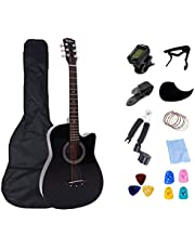 Rosefinch Acoustic Adults Guitar Travel 38 inch Basswood Folk Guitar with Bag Pick Capo for Beginners Musical Instruments(black)…