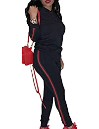 Women's 2 Pieces Outfits Long Sleeve Casual Hoodie Tops and Pants Jumpsuit Tracksuits