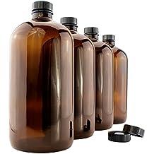 32-Ounce Amber Kombucha Growler Bottles (4-Pack); 1 Quart Boston Round Glass Bottles w/ 6 Polycone Phenolic Lids for Home Brewing