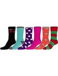 Sakkas Super Soft Anti-Slip Fuzzy Crew Socks Value Assorted 6-Pack