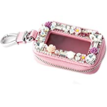 Bestbling Car Key Holder Flower 3D Handmade Leather Auto Key Case Car Key Gourd Leather Holder Cover Case with Luxury Bling Crystal Diamond Rhinestones (Pink)