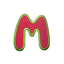 Embroidered Iron On Patch Alphabet/Letter pink - complete Alphabet available , Alphabet/Buchstabe:Buchstabe M - 6.3x5.9cm