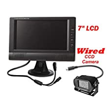 """4Ucam 7"""" LCD Digital Monitor Wired Backup Rear View CCD RV Bus Camera"""