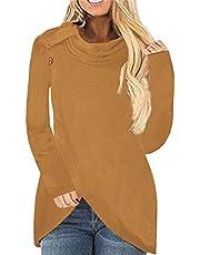 FaroDor Women's Button Cowl Neck Pullover Sweater Asymmetric Hem Wrap Knitted Sweatshirt Tops