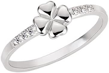 Four Leaf Clover Cubic Zirconia Ring Sterling Silver 925 (Sizes 4-10)