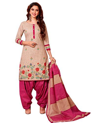 Jevi Prints Women's Cotton Printed Straight Stitched Salwar Suit Set (SUIT_AP-4802_Pink)