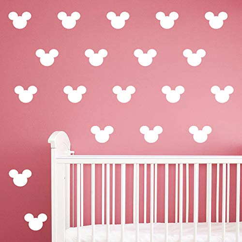 24PCS Cartoon Mickey Mouse Head Wall Sticker Baby Nursery Cute Animal Wall Decal Children Room, Wall Art Easy Removable (White, Vinyl PVC Material)