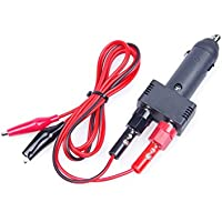 KNACRO DC 12V 10A Car Cigarette Lighter Plug With Power Wiring Cable 1m / 3.28ft Small Alligator Clips Black + Red