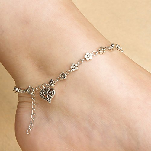 DZT1968 Women Girls Handmade Vintage Heart Chain Anklet Foot Leg Chain Jewelry