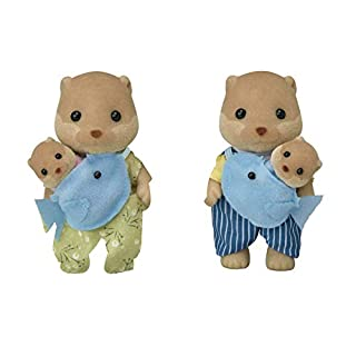 Calico Critters, Splashy Otter Family, Dolls, Dollhouse Figures, Collectible Toys, Multi (CC1804)