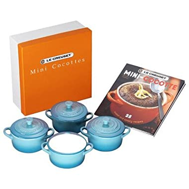 Le Creuset Set of 4 Mini Cocottes with Cookbook, Caribbean