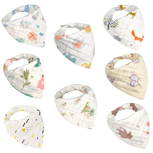Viedouce Baby Bandana Drool Bibs 100% Organic Cotton Baby Burp Cloths with Adjustable Snaps, Multicolor Set of 8