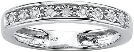 Round White Diamond Accent .925 Sterling Silver Single Row Ring