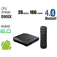 Android 6.0 TV Box 2GB RAM 16GB ROM S905X Quad Core M96X Max Wireless Wifi 2.4GHz 100M 64Bits Bluetooth 4.0 Full HD 4K Playing