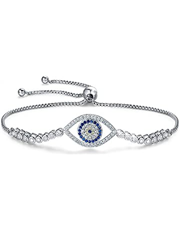 3d92961e3 BAMOER 925 Sterling Silver Expandable Lucky Blue Evil Eye Chain Bracelet  Necklace with Sparkling Cubic Zirconia