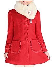 JiaYou Girl Child Kid Buttons Faux Fur Collar Outwear Pea Coat