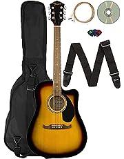 Fender FA-125CE Dreadnought Cutaway Acoustic-Electric Guitar - Sunburst Bundle with Gig Bag, Strap, Strings, Picks, Fender Play Online Lessons, and Austin Bazaar Instructional DVD
