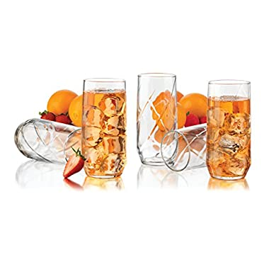Libbey Diamond Swirl 12-Piece Glassware Set, 16-Ounce, Clear