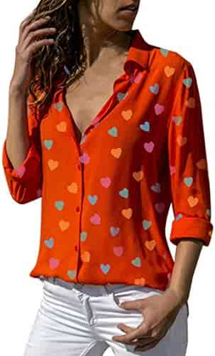 YisiqiCo☪ April Flool's Day Women Casual Buttons V-Neck Loose Love Printing Long Sleeve Shirt Top Blouse