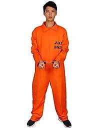 7d16c53e414 Evaliana Men Prisoner Convict Costume Halloween Fancy Dress Overalls  Jumpsuit Uniform